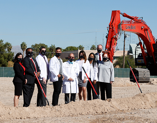 Group of doctors and administrators at UNLV groundbreaking